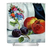 Peaches And Plums Shower Curtain