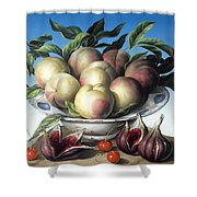 Peaches In Delft Bowl With Purple Figs Shower Curtain