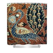 Peacock Among Flowers Shower Curtain