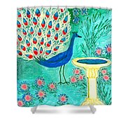 Peacock And Birdbath Shower Curtain