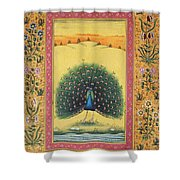 Peacock Dancing Painting Flower Bird Tree Forest Indian Miniature Painting Watercolor Artwork Shower Curtain