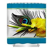Peacock Feather And Gladiola 4 Shower Curtain
