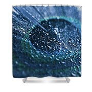 Peacock Feather Macro Waterdrops Shower Curtain