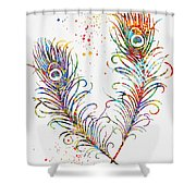 Peacock Feathers-colorful Shower Curtain