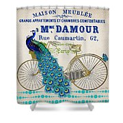 Peacock On Bicycle-jp3607 Shower Curtain