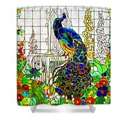 Peacock Stained Glass Shower Curtain