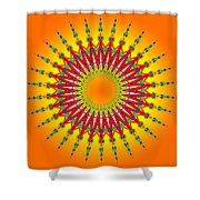 Peacock Sun Mandala Fractal Shower Curtain