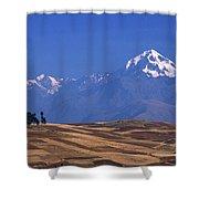 Peaks And Fields Near Cusco Peru Shower Curtain