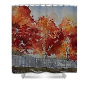Pear Trees Fall Afternoon Shower Curtain