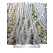 Pearl Beads - White And Beige Shower Curtain