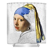 Pearl Earring Digital Art Shower Curtain
