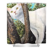 Pearl Up A Tree Shower Curtain