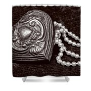 Pearls From The Heart - Sepia Shower Curtain