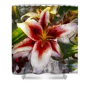 Pearly Petals Satin Leaves Shower Curtain