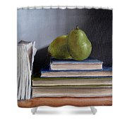 Pears And Books Shower Curtain