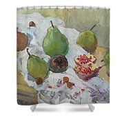 Pears Figs And Young Pomegranates Shower Curtain