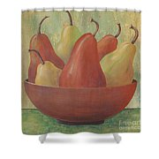 Pears In Copper Bowl Shower Curtain