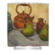 Pears With Copper Kettle Shower Curtain