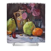 Pears With Eucalyptus Shower Curtain