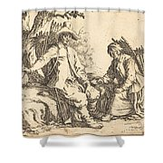 Peasant Couple At Rest Shower Curtain