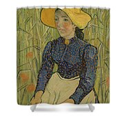 Peasant Girl In Straw Hat Shower Curtain