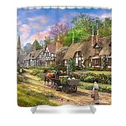 Peasant Village Life Shower Curtain