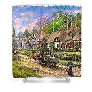 Peasant Village Life Variant 1 Shower Curtain