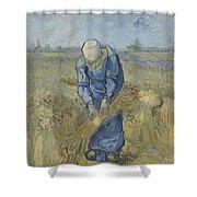 Peasant Woman Binding Sheaves After Millet Saint Remy De Provence  September 1889 Vincent Van Gogh Shower Curtain