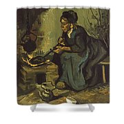 Peasant Woman Cooking By A Fireplace Shower Curtain
