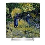 Peasants Carrying Straw Montfoucault 1875 Camille Pissarro Shower Curtain