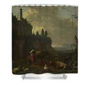 Peasants With Cattle By A Ruin Shower Curtain