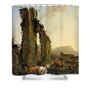 Peasants With Cattle By A Ruined Aqueduct Shower Curtain
