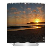 Pebble Beach Sunset Shower Curtain