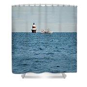 Peck Ledge Lighthouse Shower Curtain