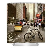 Peddle It Manhattan Shower Curtain