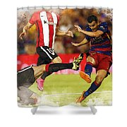 Pedro Rodriguez Kicks The Ball  Shower Curtain