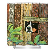 Peek-a-boo Fence Shower Curtain