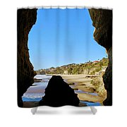 Peeking From Coastal Cave Shower Curtain