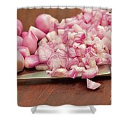 Peeled And Chopped Shallots Shower Curtain