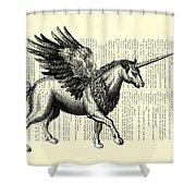 Pegasus Black And White Shower Curtain