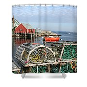 Peggys Cove And Lobster Traps Shower Curtain