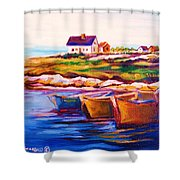 Peggys Cove  Four  Row Boats Shower Curtain