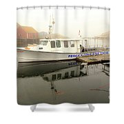 Peggy's Cove Tours Boat In The Rain Shower Curtain