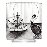 Pelican Fishing Paradise C1 Shower Curtain by Ricardos Creations