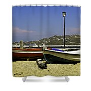 Pelican In Mykonos Shower Curtain
