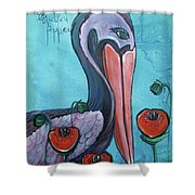 Pelican Poppies 1 Shower Curtain
