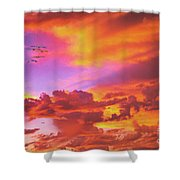 Pelicans Flying Into Sunset  Shower Curtain