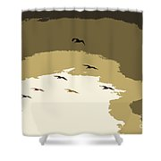 Pelicans On The Wing Shower Curtain