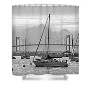 Pell Bridge Newport Harbor Newport Ri Rhode Island Purple Sunset Black And White Shower Curtain
