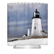 Pemaquid Point Lighthouse In Winter Shower Curtain